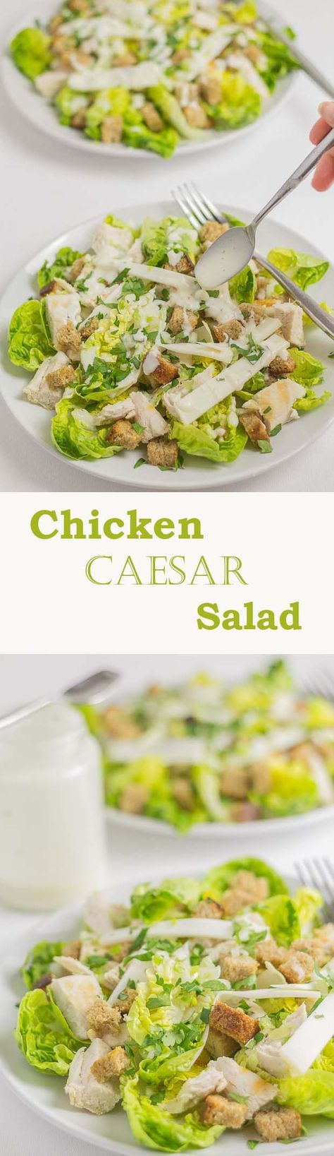 Classic chicken Caesar salad recipe with crunchy wholemeal croutons and a delicious low calorie creamy dressing.