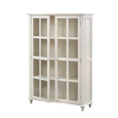 home decorators collection shutter 4shelf glass door bookcase in polar