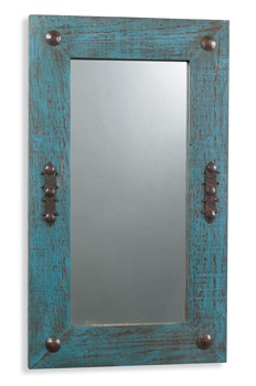 LOVE the finish on this mirror! Need to re-create it with an antiqued floor mirror, minus the iron accents..