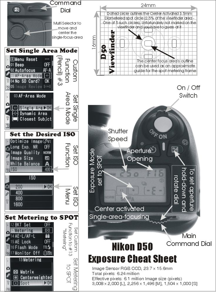 Nikon D50 quick reference sheet