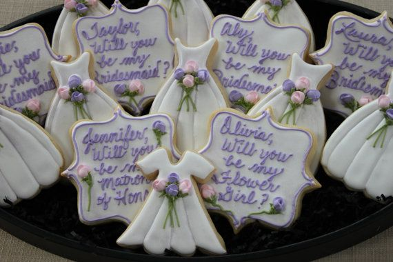 Will You Be My Bridesmaid Cookies Wedding by 4theloveofcookies, $35.00 These would be cute for shower cookies... different writing though