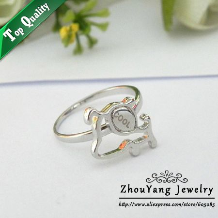 ZYR201 Cool Dog Ring 18K Platinum Plated Made with Genuine Austrian Crystals Full Sizes Wholesale $108,78
