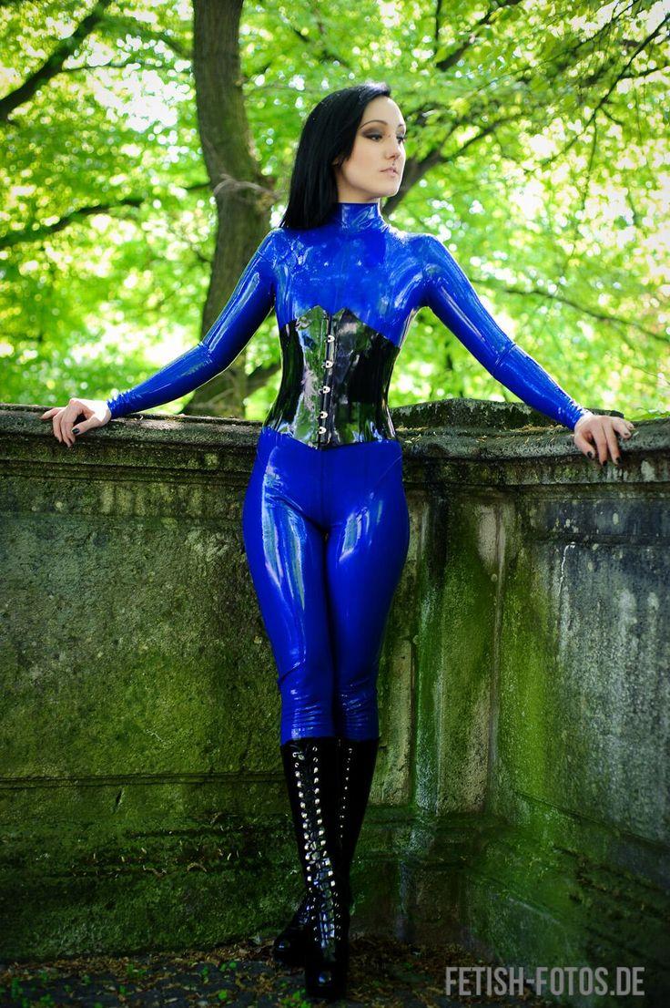 Blue latex catsuit