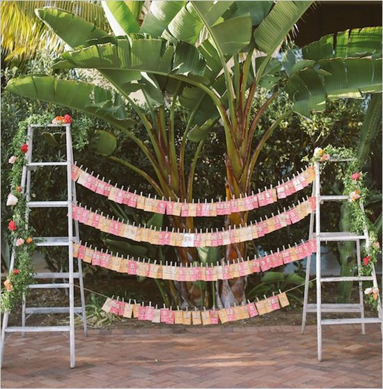 step ladder escort card stand at Terranea Resort wedding