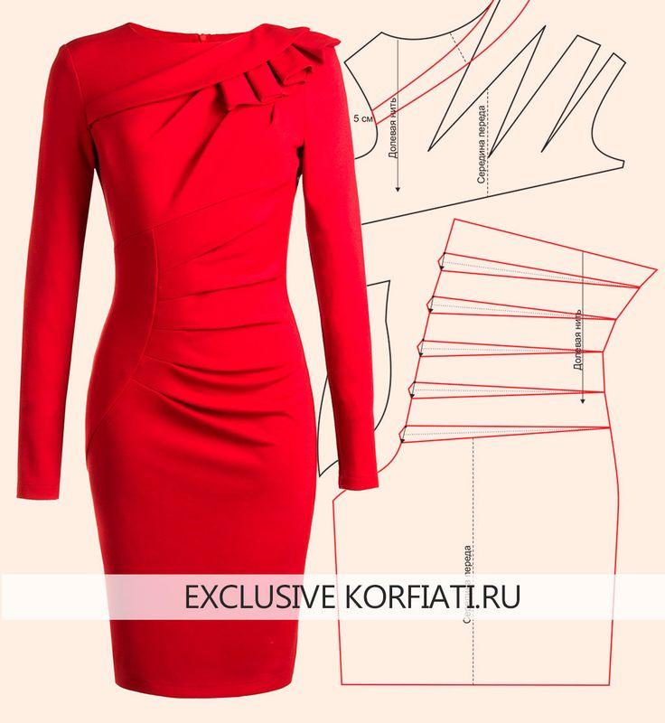 vestito rosso dal modello di taglio complesso / 01
