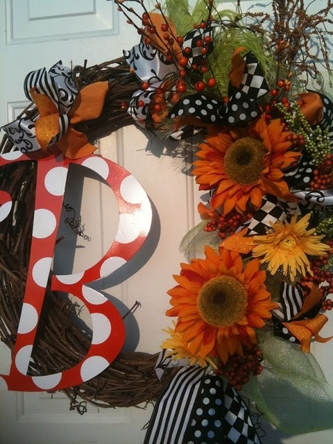 initial monogram fall decor wreath halloween  we could so make these @Krysta Guille Guille Lindsay Thomas Gray
