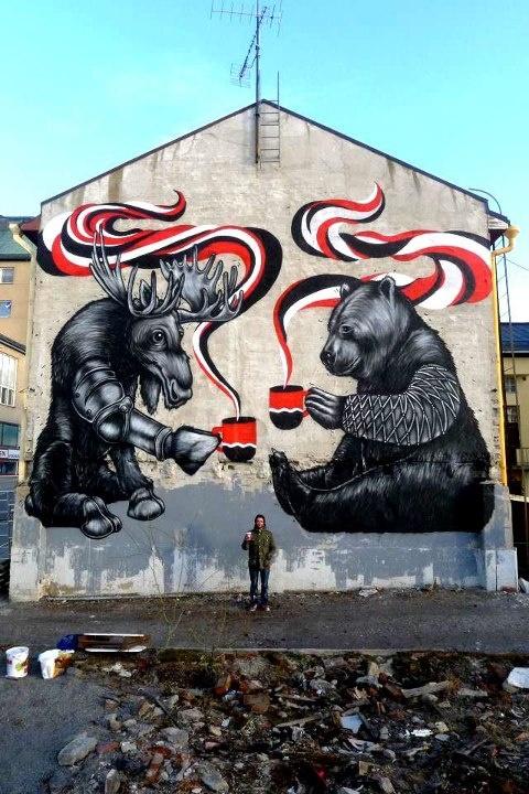 Bear and Moose street art Finland