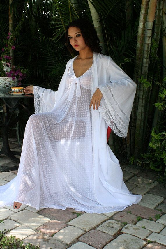 100 Cotton Lace Inset Bridal Dressing Gown Robe by SarafinaDreams, $175.00