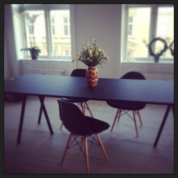 Eames chair, Hay loop stand Table Black, multicolor vase. Copenhagen,Denmark