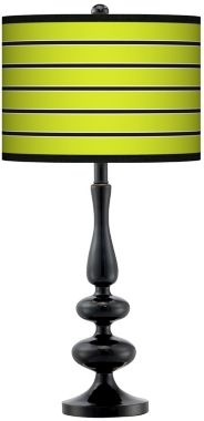 Master Bedroom: Bold Lime Green Stripe Giclee Paley Black Table Lamp