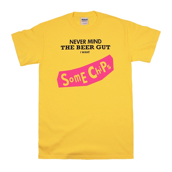 Mens T Shirt by BLACK LABEL – RED STAR: Nevermind – Beer Gut. Superior pre-shrunk cotton, Yellow colour. £15.00.