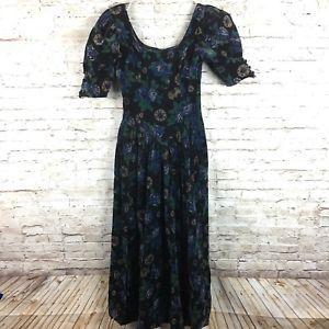 Vintage Laura Ashley Tea Party floral velvet dress sz 8 UK 6 US autumn day   | eBay
