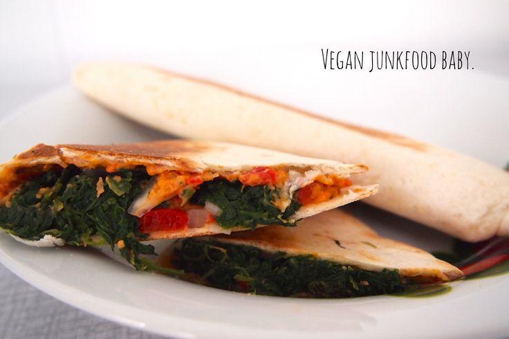 Quesedillas met hummus en spinazie (de groene meisjes)