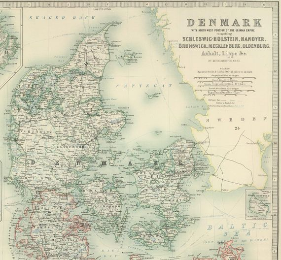 Map of Denmark 1893 Iceland Map Faroe Islands Map Holstein