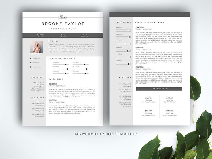 resume template for ms word by fortunelle resumes on creativemarket - Pages Templates Resume