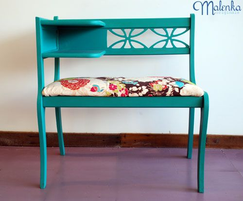 Love the paint colour! Love the fabric! A gorgeous upcycled refinished piece from Malenka Originals
