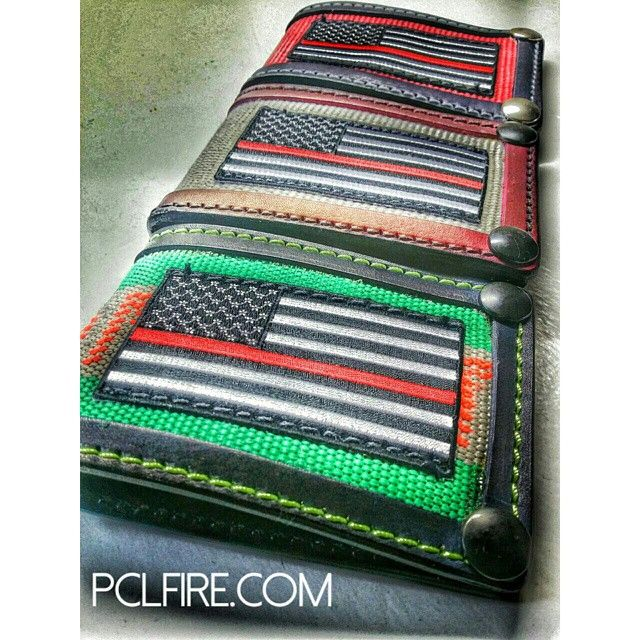 Over 1000 ways to customize the PCL Recycled Fire Hose Wallets! YOU get to pick the fire hose color, YOU get to pick the leather color, YOU get to pick the stitching color, YOU get to pick the liner color, YOU get to add YOUR name and YOUR department lett