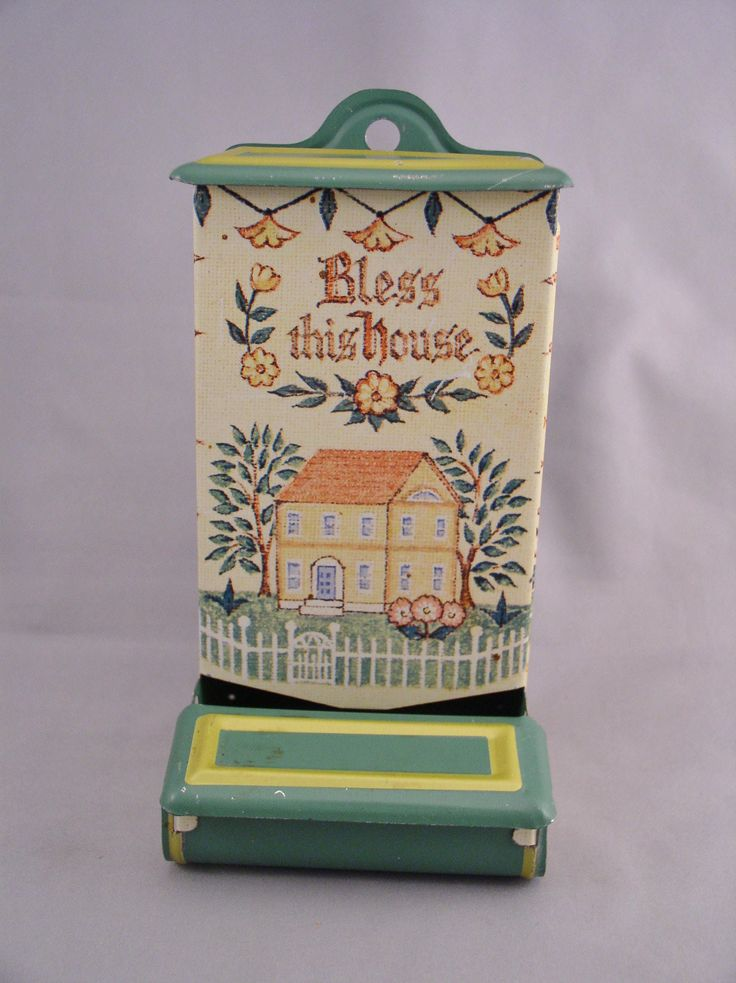"""Vintage 1950s Tin Wooden Match Holder Dispenser - """"Bless This House"""" Themed with Great Lithos by SMNantiques on Etsy"""