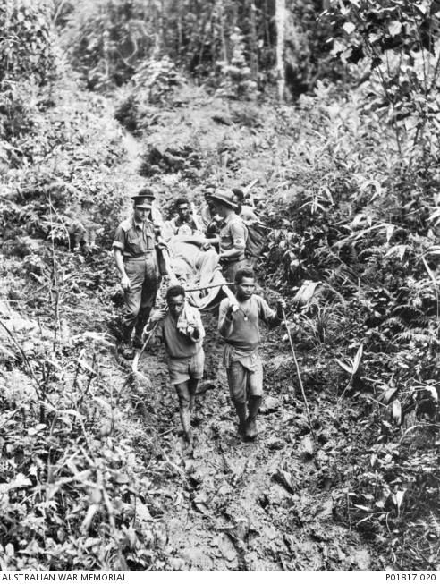 """Unsung Heroes of the Kokoda Campaign - the Wuzzy Fuzzy Angels! The """"fuzzy wuzzy"""" angels acted as bearers for the Australian and other Allied troops, carrying supplies and wounded on the Kokoda Trail during the fighting against the Japanese."""