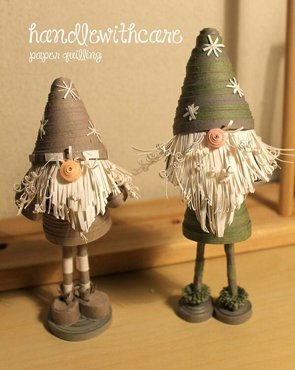 paper quilling dolls, scandinavian Christmas gnome