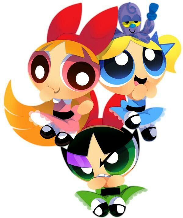 Powerpuff girls in fancy dresses