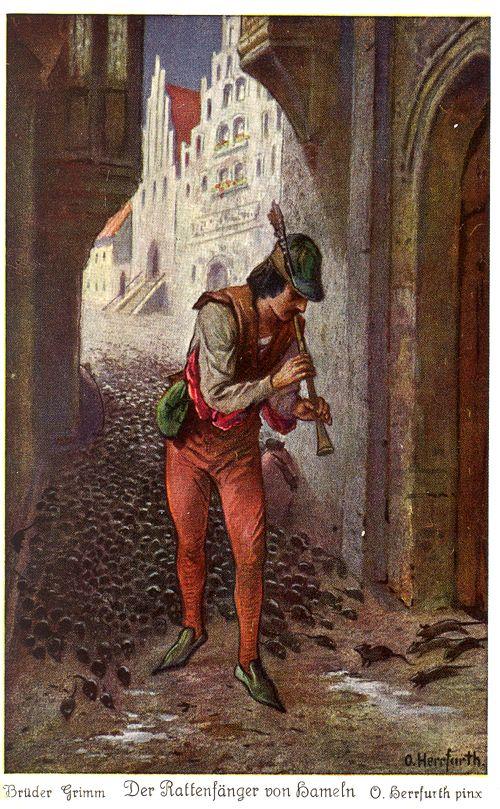 Gebrüder Grimm, Der Rattenfänger von Hameln, Illustration von Oskar Herrfurth, Verlag Uvachrom Gesellschaft für Farbenphotographie in München