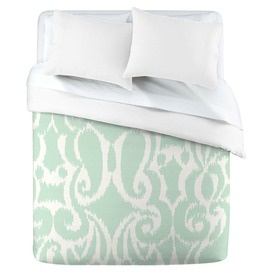 Mint  Duvet Cover. This site has LOTS of designs and colors for duvet covers, shower curtains, and pillows
