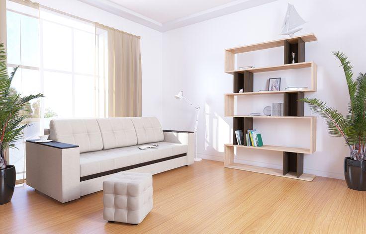 """Диван-кровать прямой АТЛАНТА, экокожа Tresor Cream (кремовый) Недорогой, красивый, стильный, компактный, вместительный диван с  деревянными подлокотниками и механизм «еврокнижка», прекрасное решение для гостиных комнат. Модель обладает высочайшим комфортом посадки и спального места при компактных размерах в разложенном варианте. В положении """"кровать"""", диван имеет заднюю планку, которая отделяет спальное место от стены. Накладка на подлокотнике выполнена из материала МДФ."""