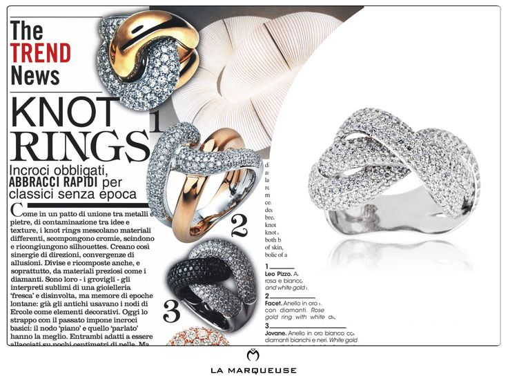 Diamentowy pierścionek z motywem węzła. Kolekcja La Marqueuse. ..: #pierscionek #bizuteria  #jewerly #ring #Vogue #LaMarqueuse :...