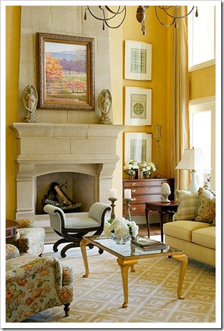 Tobi Fairley: Wall Colors, Stones Fireplaces, Decor Ideas, Yellow Rooms, Fireplaces Mantels, Yellow Living Rooms, Gold Wall, Families Rooms, Fire Places