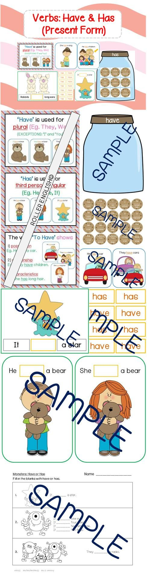 """$ This package teaches the present forms of 'have' for the subject pronouns (ie. He, She, It, They) and nouns (names: Ann, Tom; objects: cookies, jar; animals: rabbit).   Students would understand rules related to using 'have' and 'has'. They would learn to form simple three-word sentences, such as """"They have bears"""" and """"It has four hands""""."""