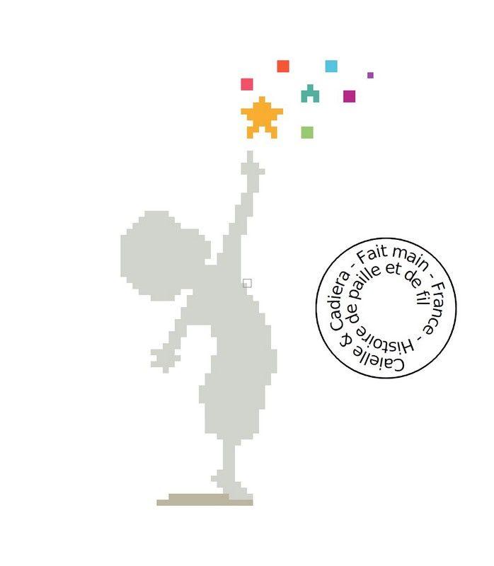 Grille gratuite de point de croix - Enfant aux étoiles - Rêve, douceur, enfance - www.caielle-cadiera.com