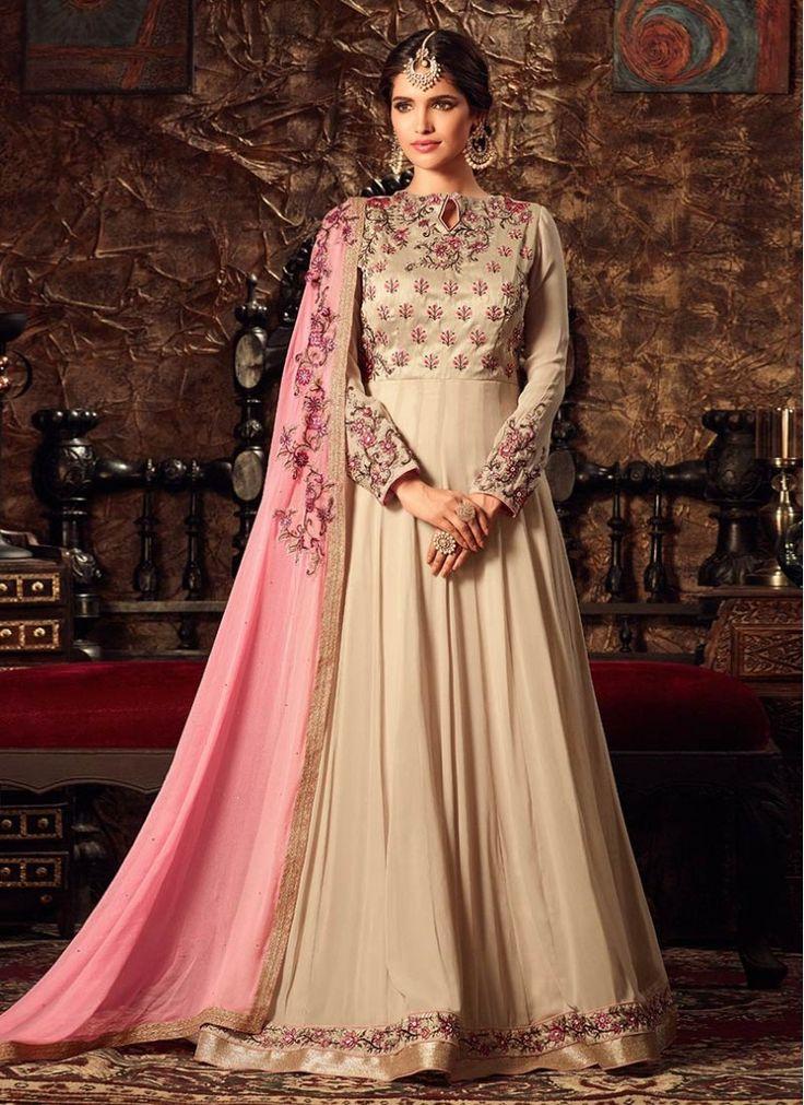 Sentoon Embroidered Peach and Beige Floor Length Anarkali Suit