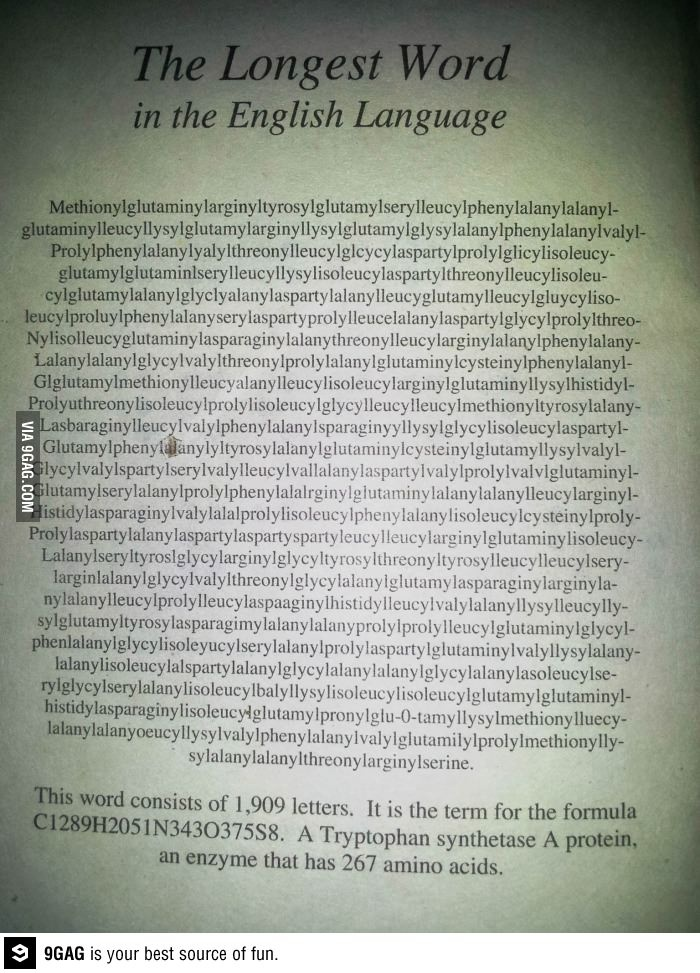 The longest word - leave it to scince