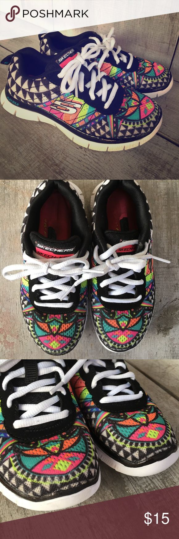 Skechers Youth Girls Aztec Tribal Sneakers Adorable, fun, bright little athletic shoes by Skechers. Size 12 youth (little toddler girls). Cute tribal pattern. Great condition, minimal signs of wear. No holes/odors/stains. Laces intact and no fraying. Lightweight mesh type knit upper with memory foam insoles, very comfortable! Flexible and great for school, sports or play. Exact shoes pictured. Smoke/pet free. Skechers Shoes Sneakers