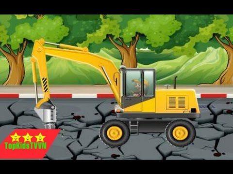 topkidstvvn-Xe máy xúc và ô tô chở cát đá-Dump trucks and excavators for...