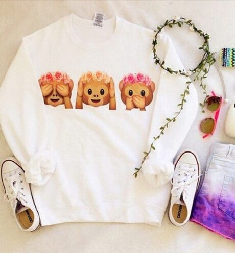 ❤ love this tumblr monkey emoji shirt