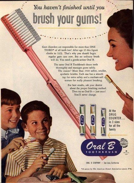 1957 Oral B toothbrush advertisement.  #TBT