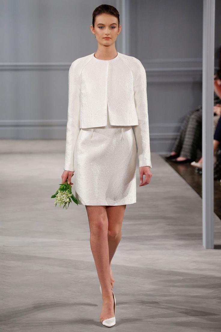 Monique LHuillier - Spring 2014  TAGS:Long sleeves, Short, White, Monique Lhuillier, Crepe, Elegant, Modern