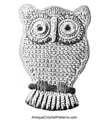 Owl Potholder Pattern - free pattern for crocheting a potholder that looks like an owl.