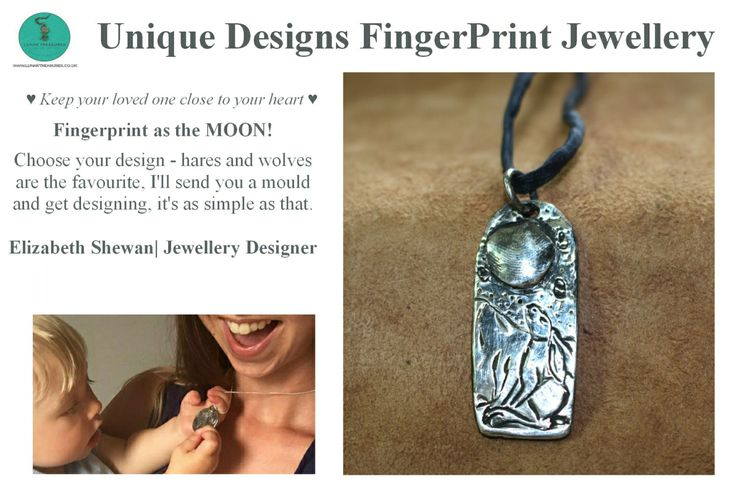 Remember Forever Silver FingerPrint Jewellery with a Twist   Animal of your Choice MoonGazing Pendant - Fine Silver - Tribal Handmade by LunarTreasuresShop on Etsy