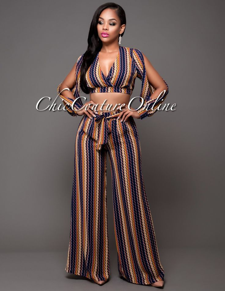 Chic Couture Online - Fleetwood Navy-Blue Mustard Multi-Color Two Piece Pants Set. (http://www.chiccoutureonline.com/fleetwood-navy-blue-mustard-multi-color-two-piece-pants-set/)