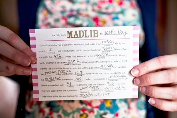 Baby Shower MadLibFun Baby, Baby Shower Ideas, Elsie Ruth, Fun Ideas, Baby Shower Games, Parties Ideas, Shower Madlibs, Baby Stuff, Baby Shower Mad Libs