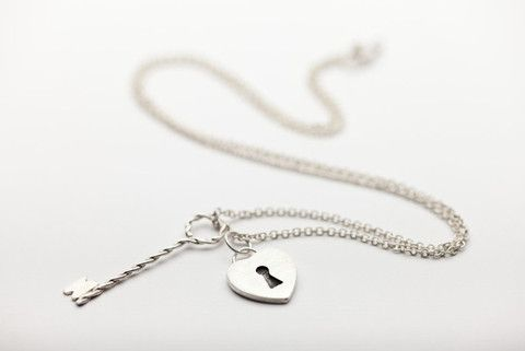 Heart Lock and Key Necklace