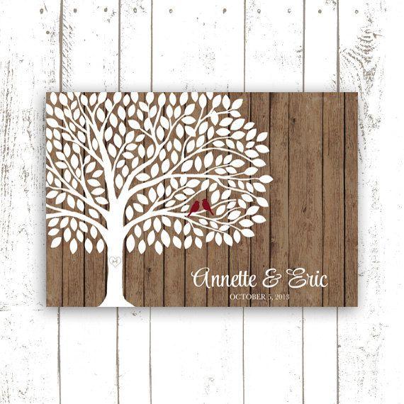 Wedding Guest Book Tree on Wood Background  by MooseberryPrintShop, $64.00