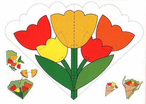 Creatieve workshop kaart met een boeket van bloemen kaart technologie ambachten masterclass Internet les papier 8 maart