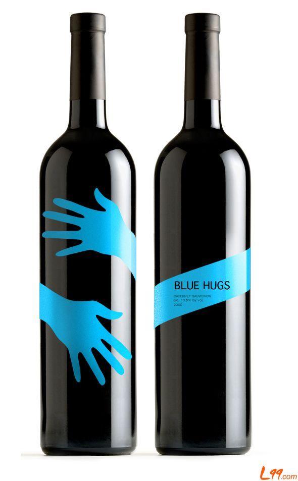 HUGS designed shrink sleeve labels for wine bottle.   #etiquette #bouteille #shrink #sleeves #bottle #labels
