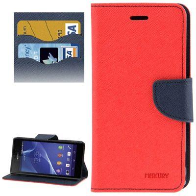 Mercury Leather Case Θήκη Πορτοφόλι Κόκκινο (Xperia SP) - myThiki.gr - Θήκες Κινητών-Αξεσουάρ για Smartphones και Tablets - Χρώμα κόκκινο με μπλε δέστρα