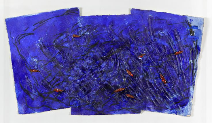 «Quanto più il blu è profondo, tanto più fortemente richiama l'uomo verso l'infinito, suscita in lui la nostalgia della purezza e infine del sovrasensibile...» [ #WassilyKandinsky , Lo spirituale nell'arte, 1910]. #MarcoGastini, Blu, 1983, tecnica mista e carrube su carta, cm. 55x104.