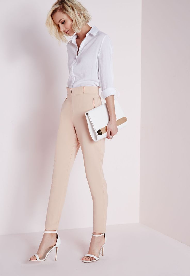 Sammie Pleated Waist Cigarette Trousers Nude - Trousers - Cigarette Trousers - Missguided